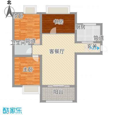盛世名门107.00㎡盛世名门户型图1-B户型3室2厅1卫1厨户型3室2厅1卫1厨