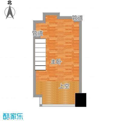 亚太广场二期50.00㎡亚太广场二期户型图LOFT居住型9B平面布置图1室1卫户型1室1卫