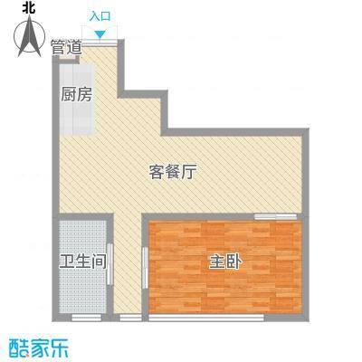 晋合公寓90.00㎡晋合公寓户型图3#标准层E户型1室1厅1卫1厨户型1室1厅1卫1厨