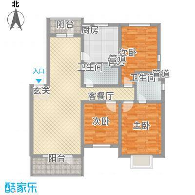万恒愿景123.00㎡万恒愿景户型图D3户型3室2厅2卫1厨户型3室2厅2卫1厨
