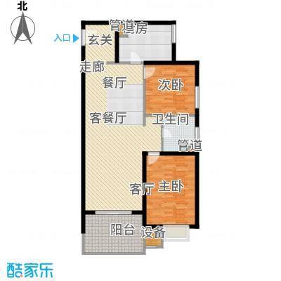 上海香溢花城户型图9#K户型 2室2厅1卫1厨