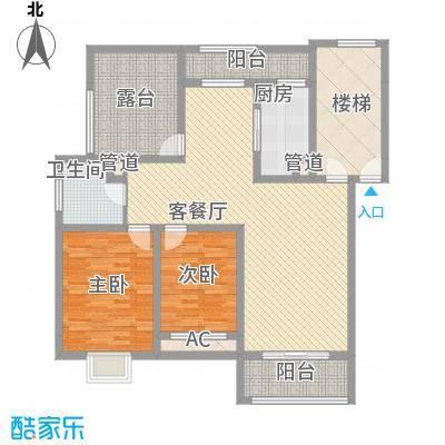 美兰湖颐景园别墅户型图2室2厅1卫1厨