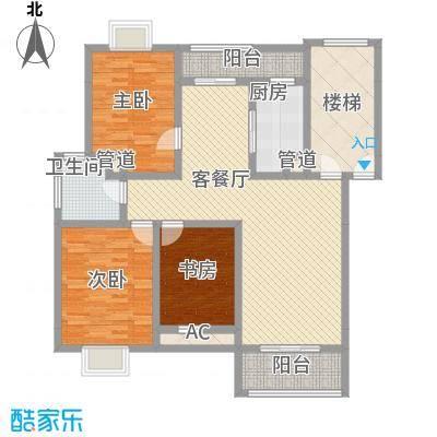 美兰湖颐景园别墅户型图3室2厅1卫1厨