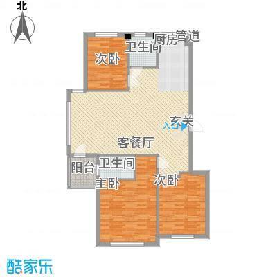 水岸花都121.82㎡水岸花都户型图121.82平户型3室2厅2卫1厨户型3室2厅2卫1厨
