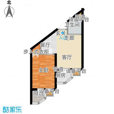 新希望家园54.10㎡新希望家园户型图6#楼A户型1室2厅1卫1厨户型1室2厅1卫1厨