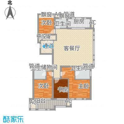 华润置地橡树湾176.00㎡华润置地橡树湾户型图LUX公寓22#、23#楼H户型4室2厅3卫1厨户型4室2厅3卫1厨