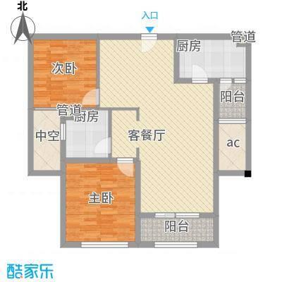 万科御玲珑110.00㎡万科御玲珑户型图高层60#标准层D户型2室2厅1卫1厨户型2室2厅1卫1厨