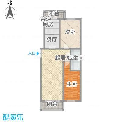 日出印象茗苑户型图3-3-1 户型 2室2厅1卫1厨