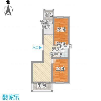 日出印象茗苑户型图2-4-1 户型 2室2厅1卫1厨