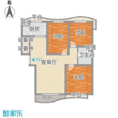 宏城金棕榈户型图D户型 3室2厅1卫1厨
