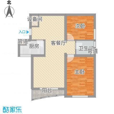 宏城金棕榈户型图G户型 2室2厅1卫1厨