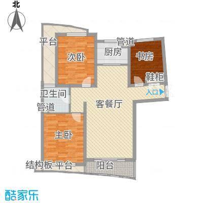 宏城金棕榈户型图F户型 3室2厅1卫1厨