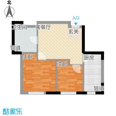 阳光馨苑户型图5#楼B户型 2室2厅1卫1厨