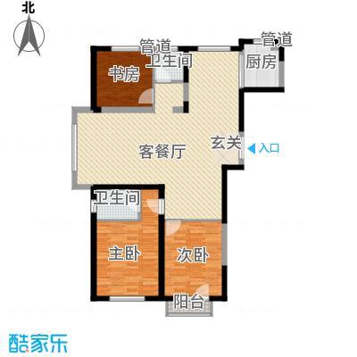 浦江御品户型图B1户型 3室2厅2卫1厨