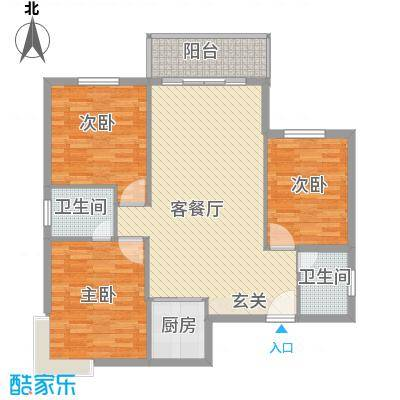 七里山路单位宿舍128.00㎡七里山路单位宿舍3室户型3室