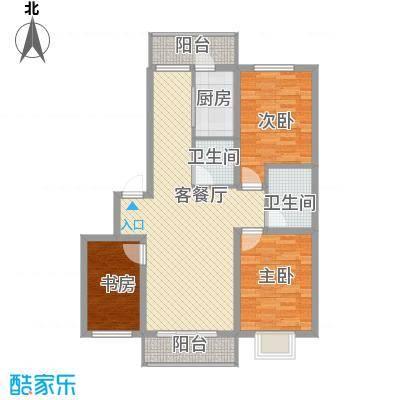 泰华林庄园户型图D户型 3室2厅1卫1厨