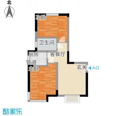 滨河湾户型图二室一厅一卫一厨 2室1厅1卫1厨