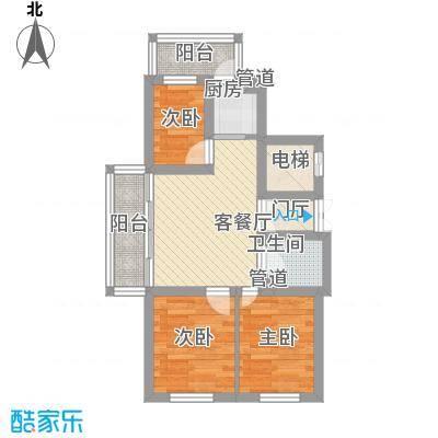 日出印象茗苑户型图2-4-2 户型 3室1厅1卫1厨