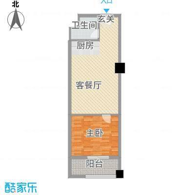 嘉汇环球广场户型图333 1室2厅1卫1厨