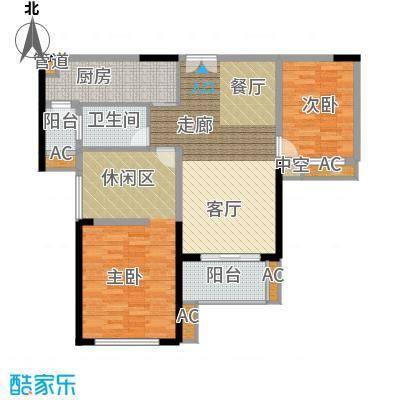 御湖湾95.00㎡御湖湾户型图一期D2-2户型3室2厅1卫1厨户型3室2厅1卫1厨