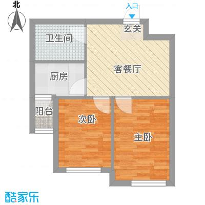 山河枫景户型图B户型 2室1厅1卫1厨