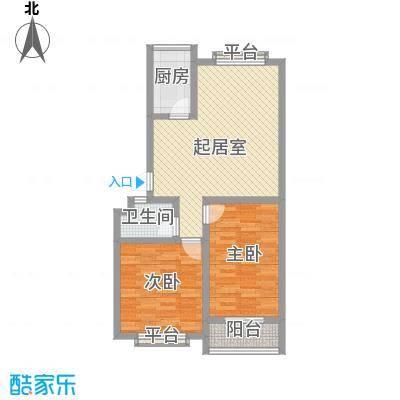 北徐花园91.24㎡北徐花园户型图两室两厅一卫2室2厅1卫户型2室2厅1卫