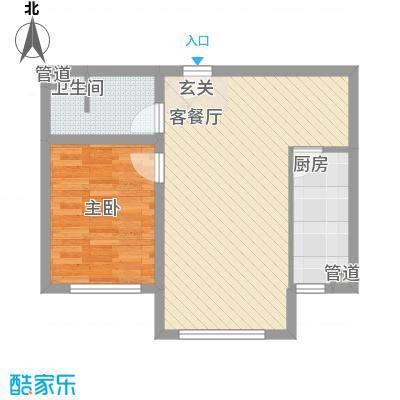 坤泰新界63.70㎡坤泰新界户型图Q1户型1室2厅1卫1厨户型1室2厅1卫1厨