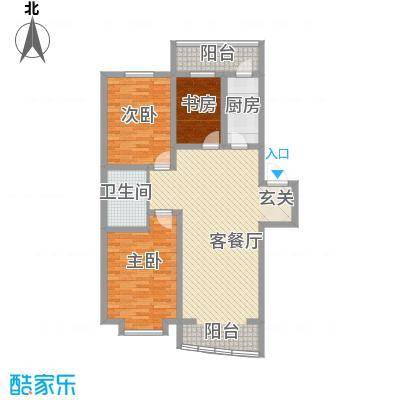 富山花园105.61㎡富山花园户型图2室2厅1卫户型10室