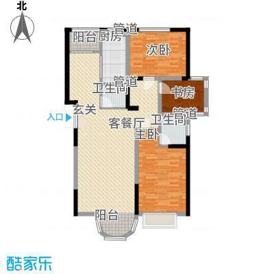 香堤湾132.62㎡香堤湾户型图河畔华宅3室2厅2卫1厨户型3室2厅2卫1厨