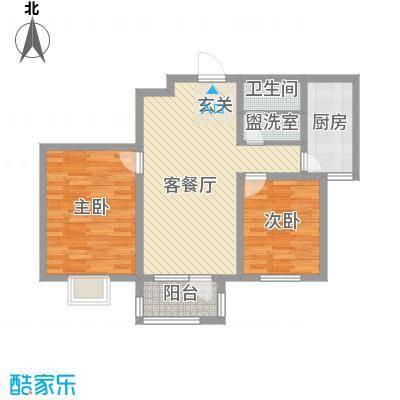 华福国际87.00㎡华福国际户型图B52室2厅1卫户型2室2厅1卫