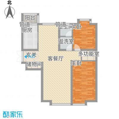 新世界花园湾景华庭127.85㎡新世界花园湾景华庭户型图5-20层2室2厅1卫户型2室2厅1卫