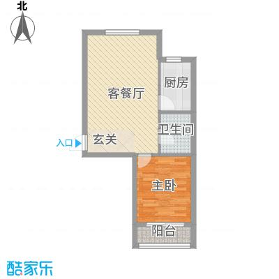 山河枫景户型图E户型 1室1厅1卫1厨