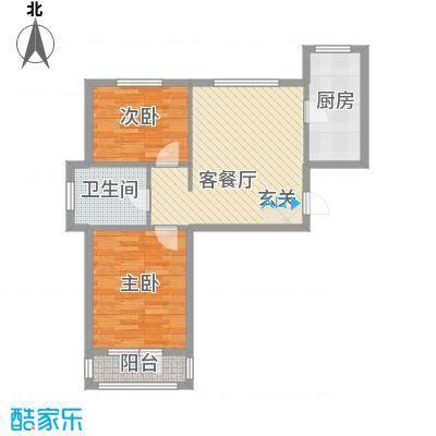 山河枫景户型图A户型 2室2厅1卫1厨
