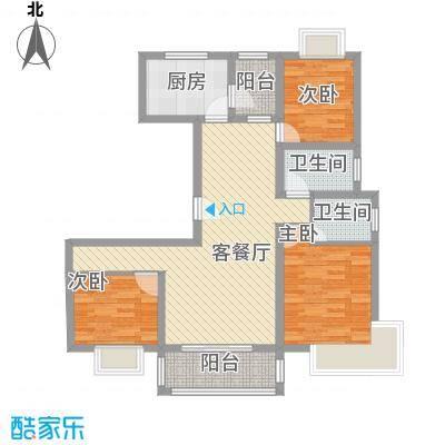 三岛龙州苑户型图20号楼标准户型 3室1厅1卫