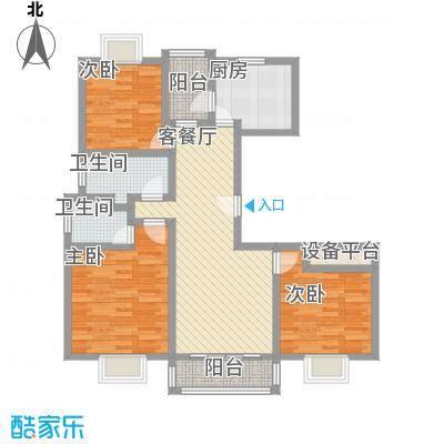 三岛龙州苑户型图21号标准B户型 3室1厅2卫