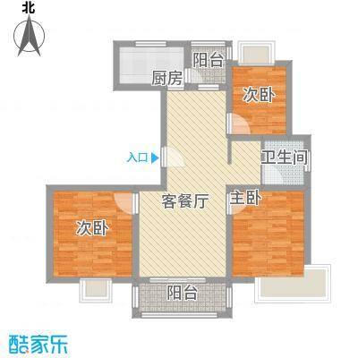 三岛龙州苑户型图16号楼标准户型 3室1厅1卫1厨