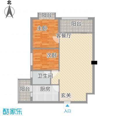 锦华水岸居90.75㎡锦华水岸居户型图1栋标准层B户型2室2厅1卫1厨户型2室2厅1卫1厨