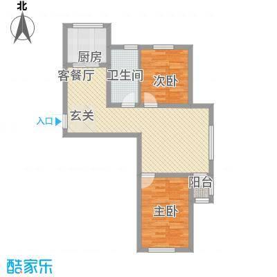 正泰园B区86.41㎡正泰园B区户型图4#、5#楼C户型2室2厅1卫1厨户型2室2厅1卫1厨