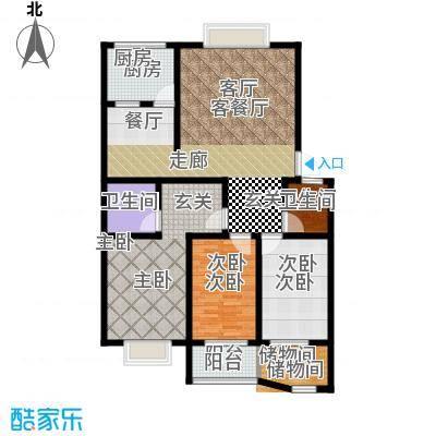 山水城130.00㎡山水城户型图H户型3室2厅户型3室2厅