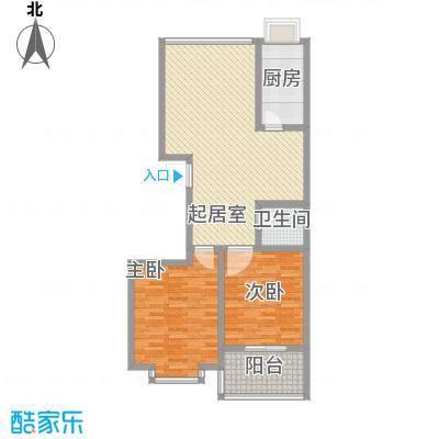 明湖花园户型图E户型 2室2厅