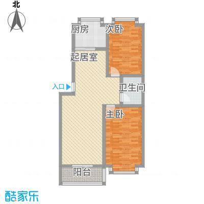 明湖花园户型图B户型 2室2厅