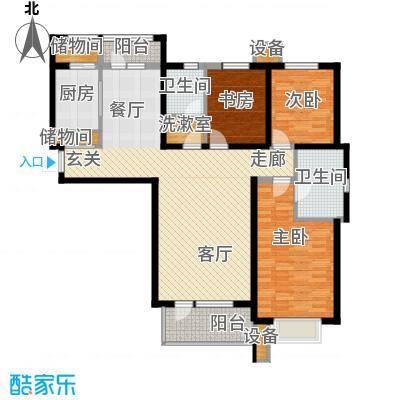 河畔新城・名门组团户型图D2户型 3室2厅2卫1厨