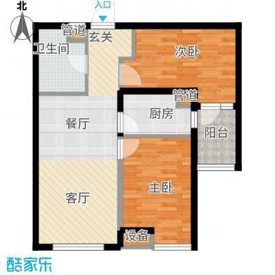 河畔新城・名门组团户型图A1户型 2室2厅1卫1厨