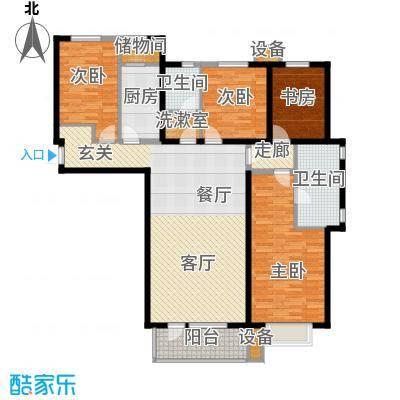 河畔新城・名门组团户型图E2户型 4室2厅2卫1厨