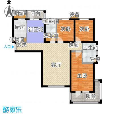 河畔新城・名门组团户型图D1户型 3室2厅2卫1厨