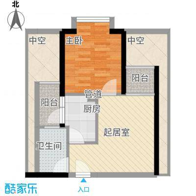 世纪新城户型图P8户型 1室1厅1卫1厨