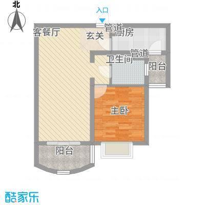 河风丽景二期76.42㎡河风丽景二期户型图B型1室1厅1卫1厨户型1室1厅1卫1厨