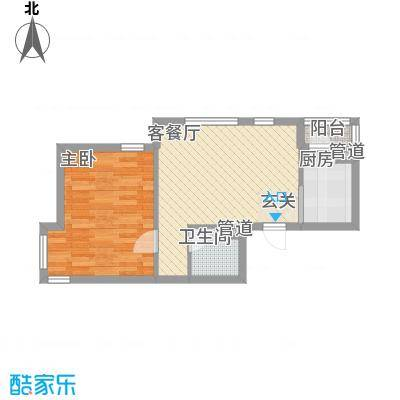 保利花园三期双河城57.00㎡保利花园三期双河城户型图一室二厅一卫57平方米1室2厅1卫户型1室2厅1卫