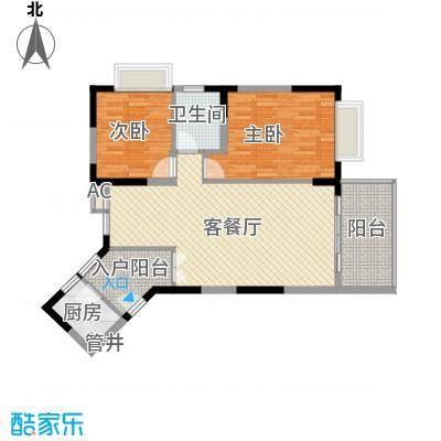新世纪丽江豪园五期牡丹阁户型图1、2座2-16层东向04户型 2室2厅1卫1厨