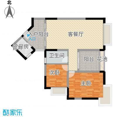 新世纪丽江豪园五期牡丹阁户型图1、2座2-16层东向03户型 2室2厅1卫1厨